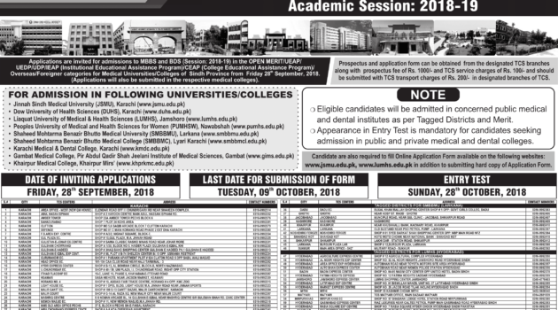 Sindh Medical Colleges Admissions 2018-19 (MBBS & BDS)