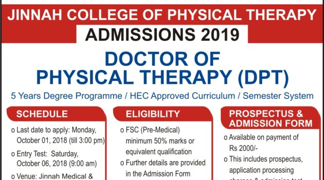 Jinnah College of Physical Therapy DPT Admissions 2019