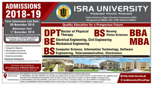 ISRA University Karachi DPT BBA MBA Admission 2018