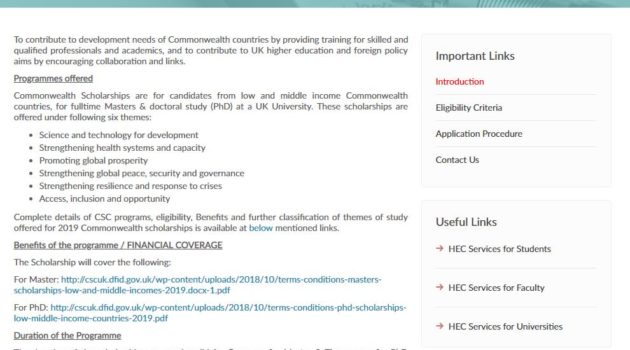 HEC Commonwealth General Masters & PhD Scholarships UK 2019