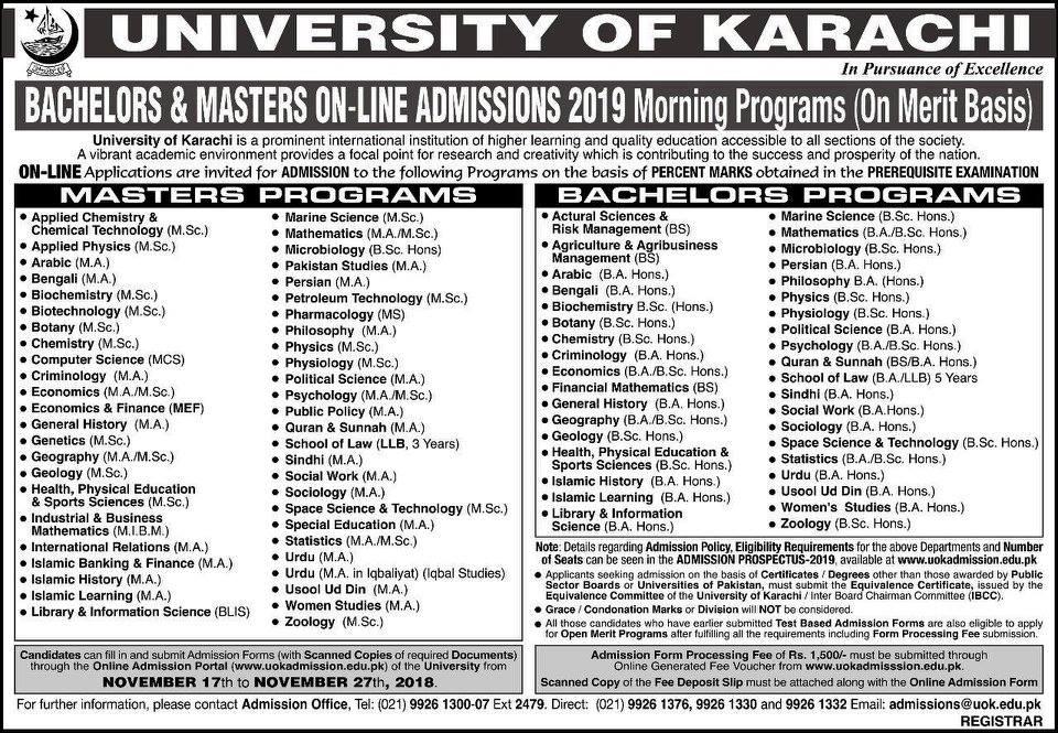Karachi University Merit based admission 2019 Bachelors & Masters