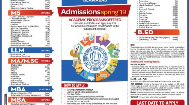 International Islamic University Spring Admissions 2019