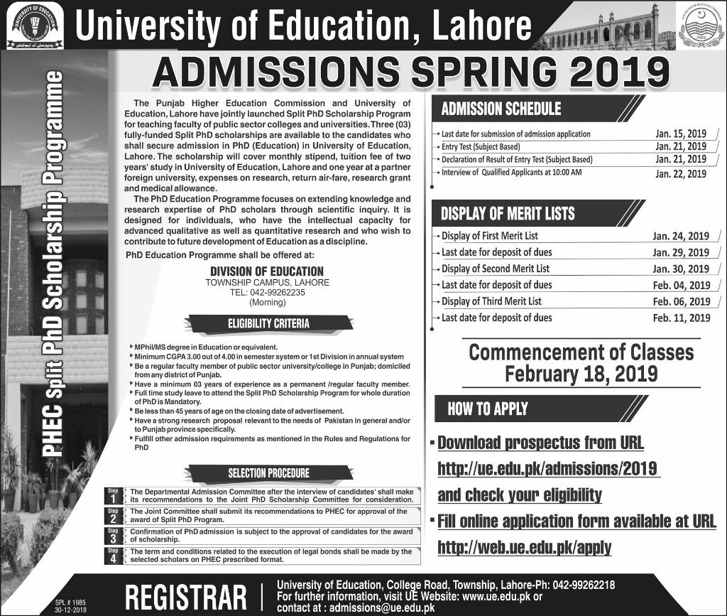 University of Education Lahore Admissions Spring 2019