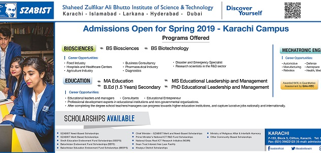 SZABIST BS Biosciences & Biotechnology Spring Admissions 2019