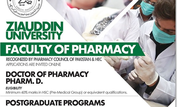Ziauddin University (Pharm-D) Spring Admission 2019