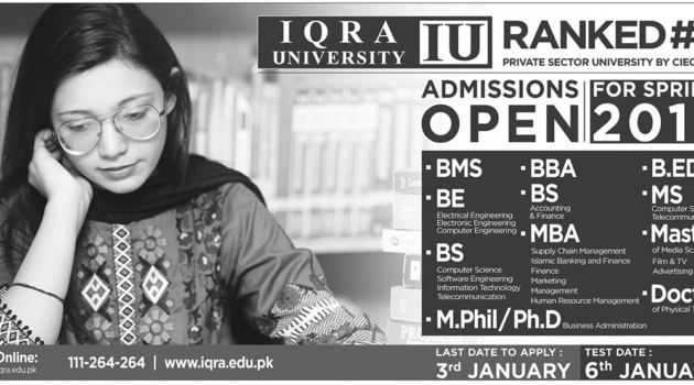 IQRA University Admissions Open for Spring 2019