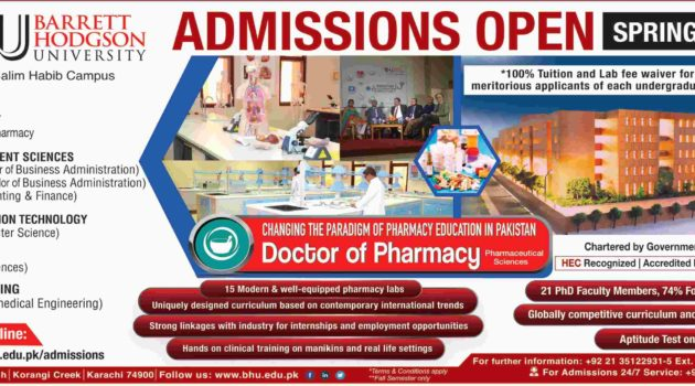 Barrett Hodgson University Karachi Pharm-D/BS/BBA/BE) Spring Admission 2019