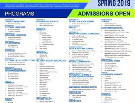Spring Admission are opened in University of Lahore