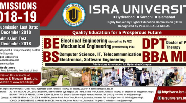 ISRA University Spring BE/DPT/BS/BBA Admissions 2019