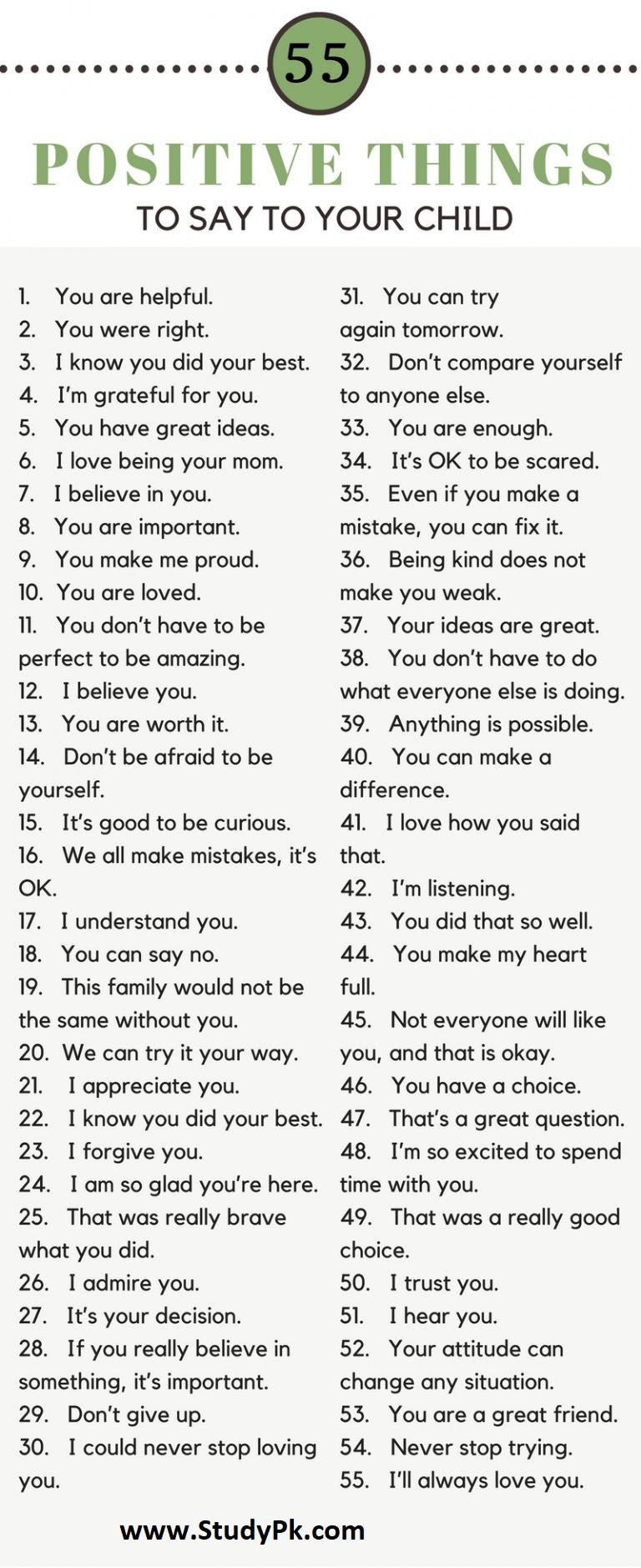 Encouraging Words & Phrases! 55 Positive Things To Say To Your Child