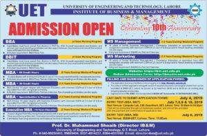 UET Lahore Institute of business Management Admissions 2019