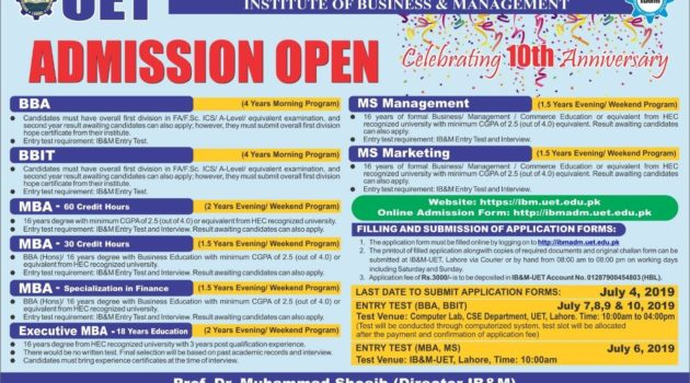 UET Lahore Institute of business Management Admissions 2019