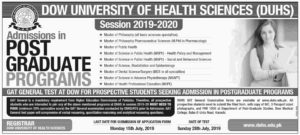 Dow University of Health Sciences Admission in Post Graduate Programs 2019