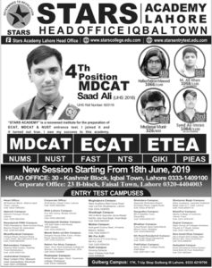 Admission Open in Stars Academy Lahore 16 Jun 2019