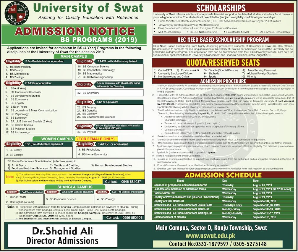 University of Swat Admissions Notice for BS Programs 2019