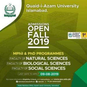 Quaid-i-Azam University Islamabad Admissions Open for MPhil & PhD Programs