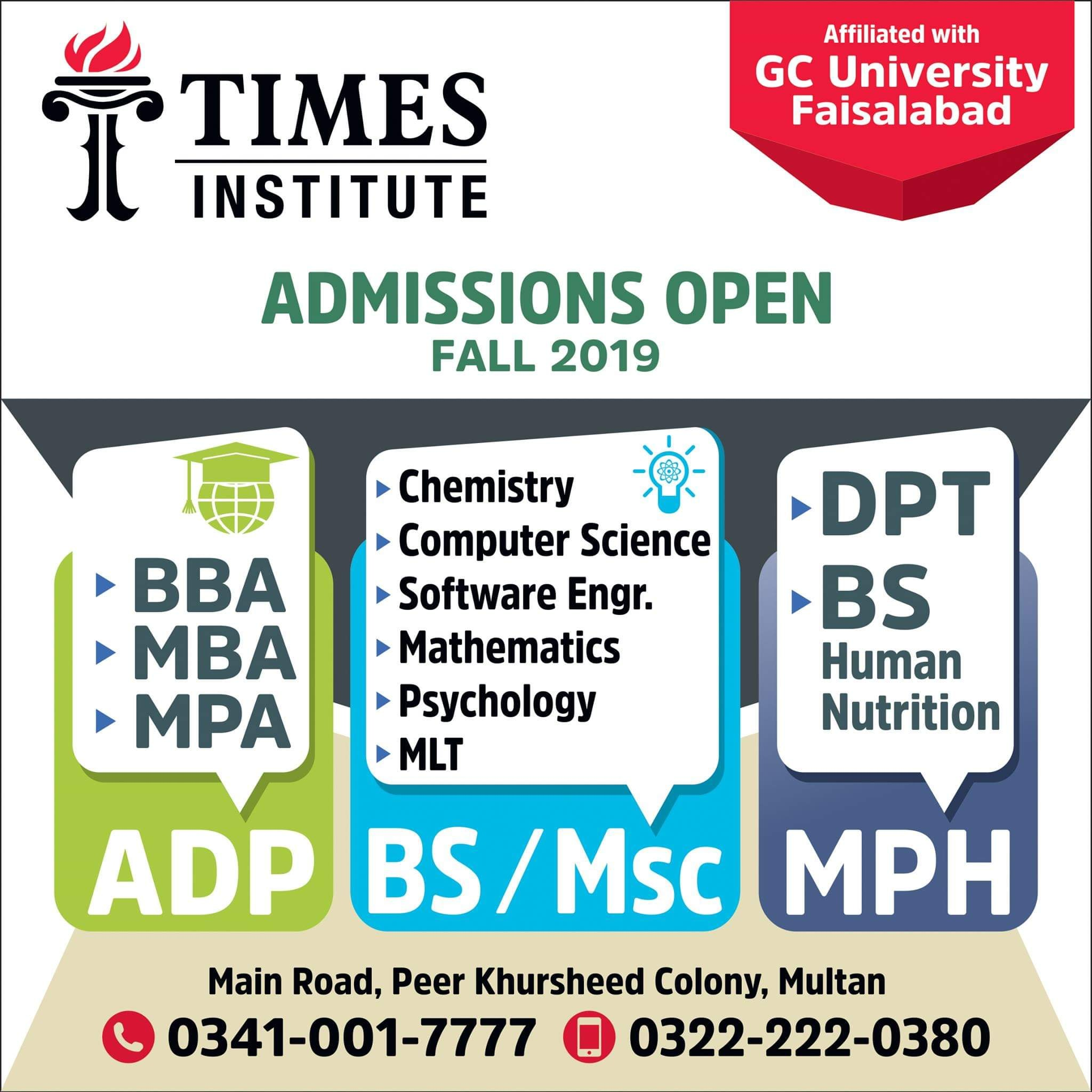 TIMES Institute Multan DPT Admission Open Fall 2019
