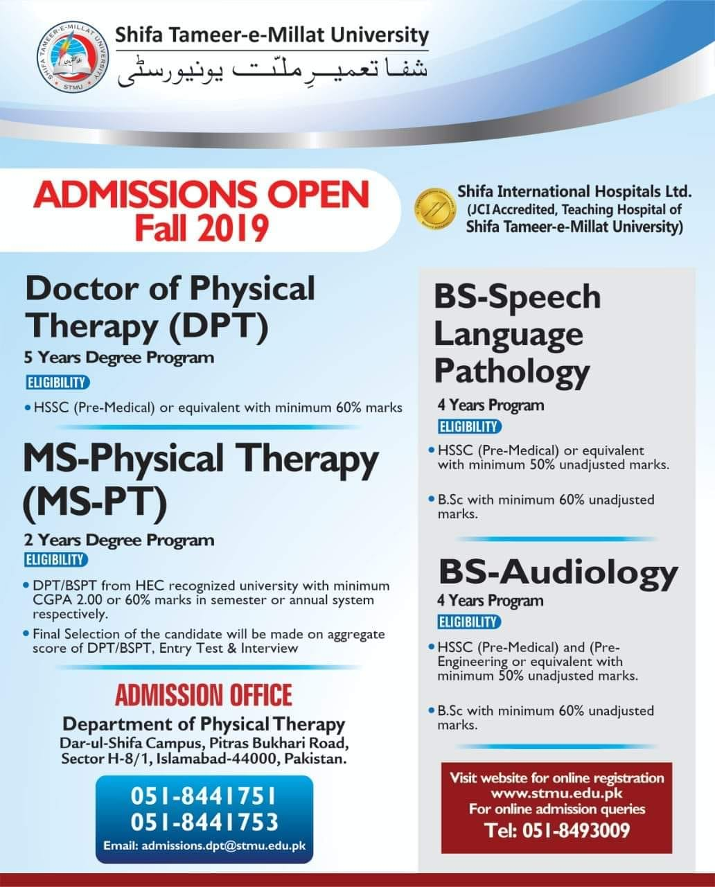 Shifa Tameer-e-Millat University DPT Admissions Open 2019-2020