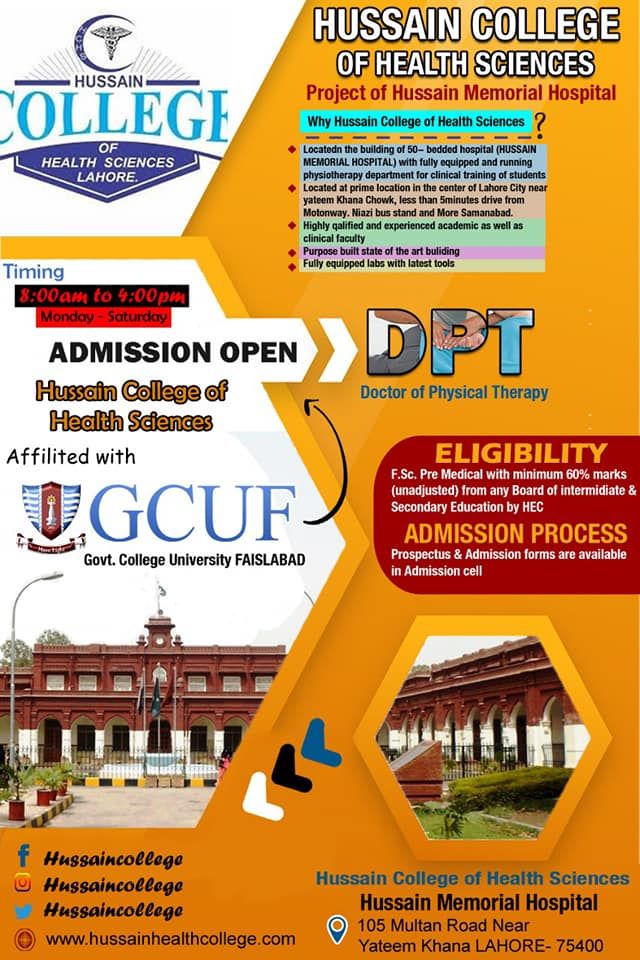 Hussain College Of Health Sciences Lahore DPT Admissions Open 2019-2020