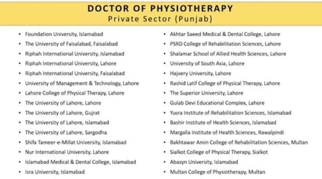 List of Institutes Offering DPT Private Sector With Closing Merit