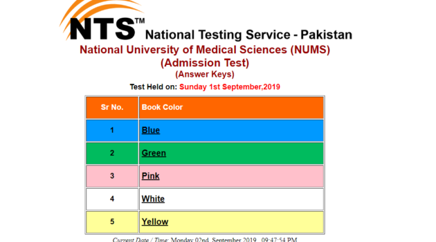 NTS NEW Nums Entry Test Mdcat 2019 Answer Key