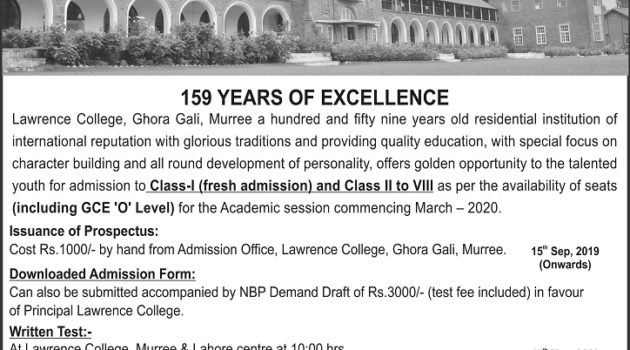 Lawrence College Ghora Gali Murree Admission 2019 Class I-VIII