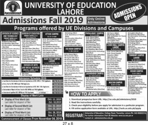 University of Education Admission Fall 2019