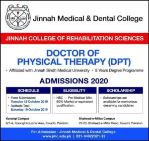 Jinnah College Of Rehabilitation Sciences DPT Admission 2019