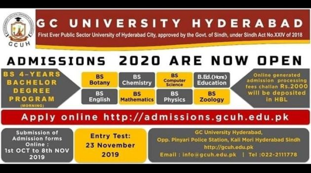 GC University Hyderabad Sindh BS Admission Open Session 2020
