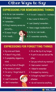 English Phrases / Expressions for Remembering, Reminding, & Forgetting Something