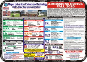 MUST Mirpur Advertisement for Admission Fall, 2020 & Eligibility Criteria