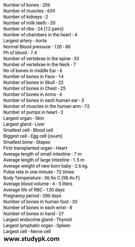 Nursing School Tips: Human Biology Number Cheat Sheet